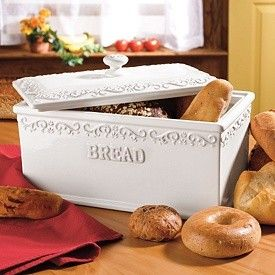 Vintage White European Fabor Bread Box Portugal Ceramic Berry