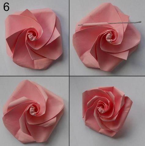 rose aus papier falten blumen basteln anleitung dekoking com 1 basteln pinterest. Black Bedroom Furniture Sets. Home Design Ideas
