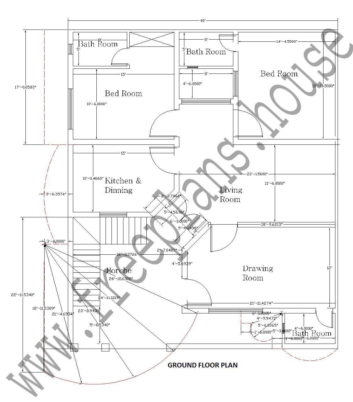 40x48 Feet Ground Floor Plan Ground Floor Plan How To Plan Floor Plans