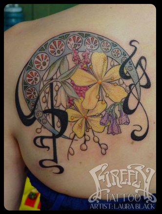 Tattoo By Laura Black Firefly Tattoo Indianapolis Http Www Fireflytattoo Com Art Nouveau Tattoo Design Tattoos Firefly Tattoo