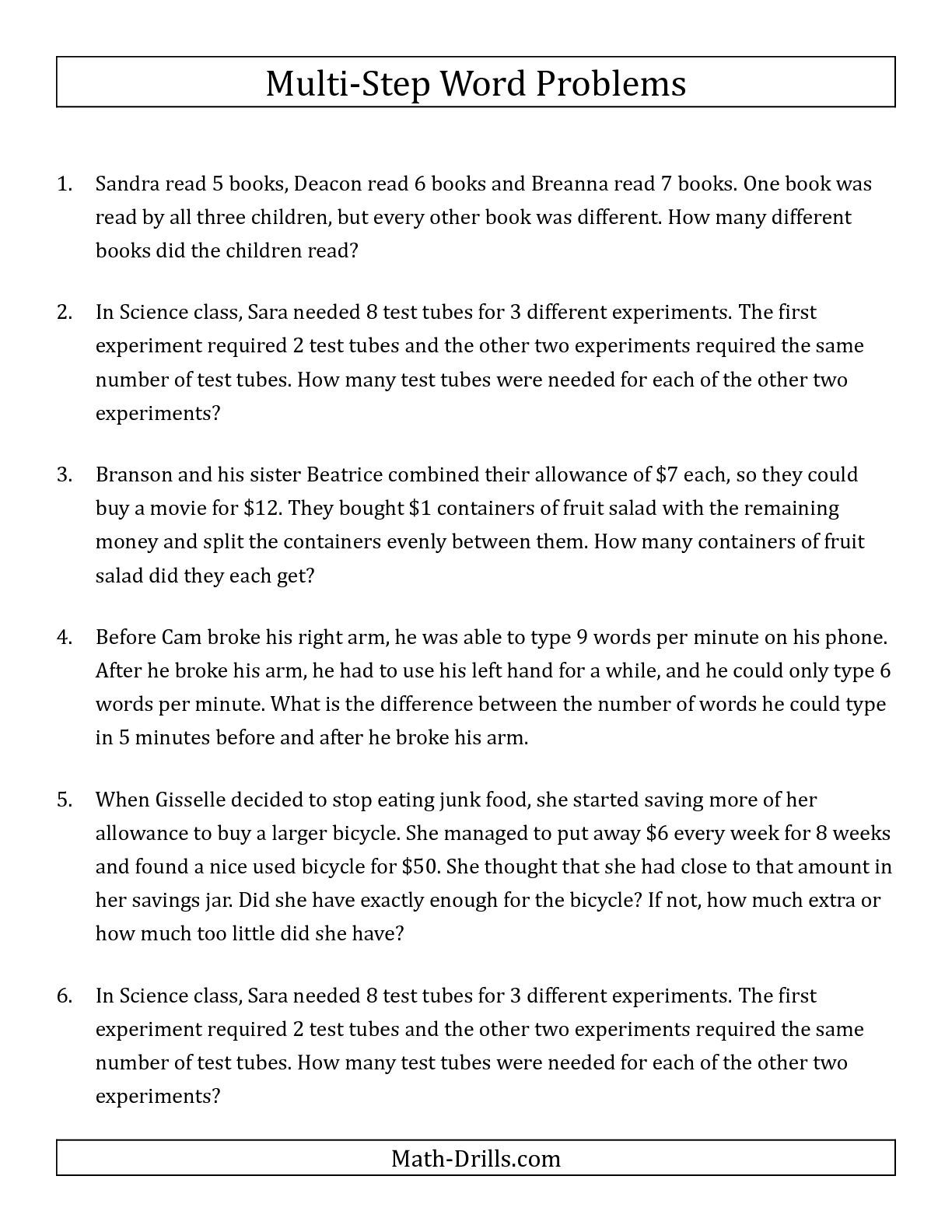The Easy Multi-Step Word Problems math worksheet from the Word ...