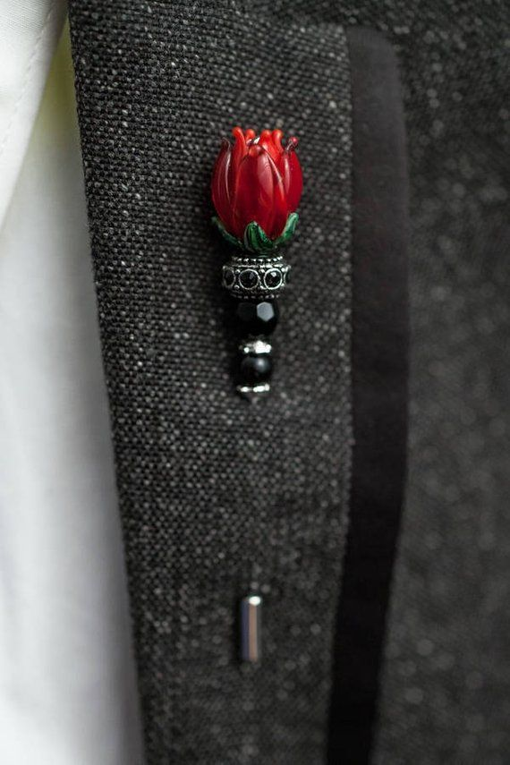 Brooch, Vintage Lapel pins – Grooms boutonniere – tie pins – Flowers (Deep Red), gifts for him