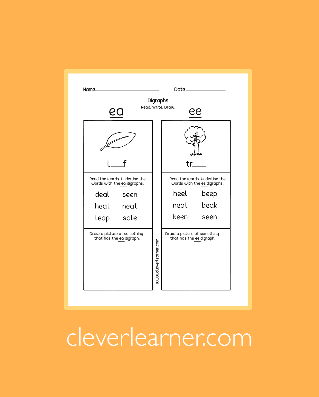 Printable Activity Sheets On Digraphs For First Graders