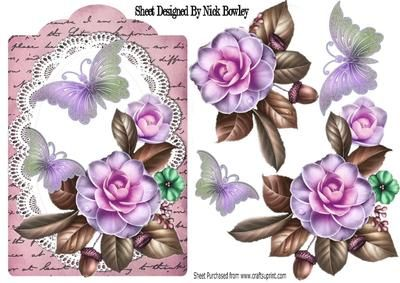 summer lilac roses on lace with butterflies on Craftsuprint - Add To Basket!
