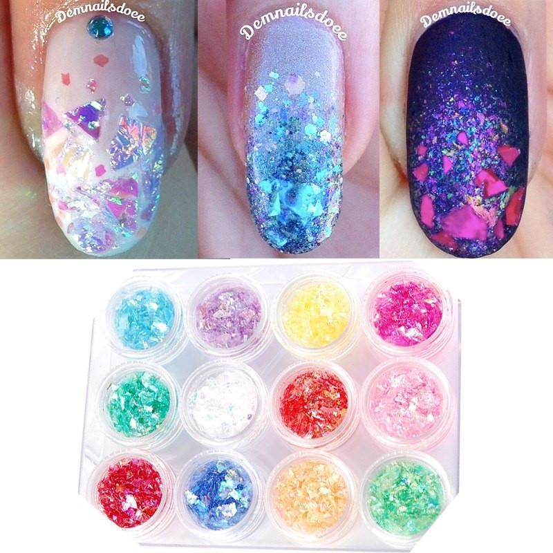 12 Color Iced Mylar Sheets Glitter Set - Nail Tramp   >> Nails ...