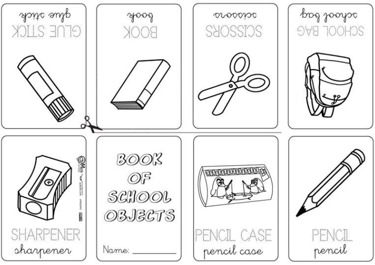 Book School Object5 Mini Books Kindergarten Vocabulary School Materials Kindergarten vocabulary worksheets