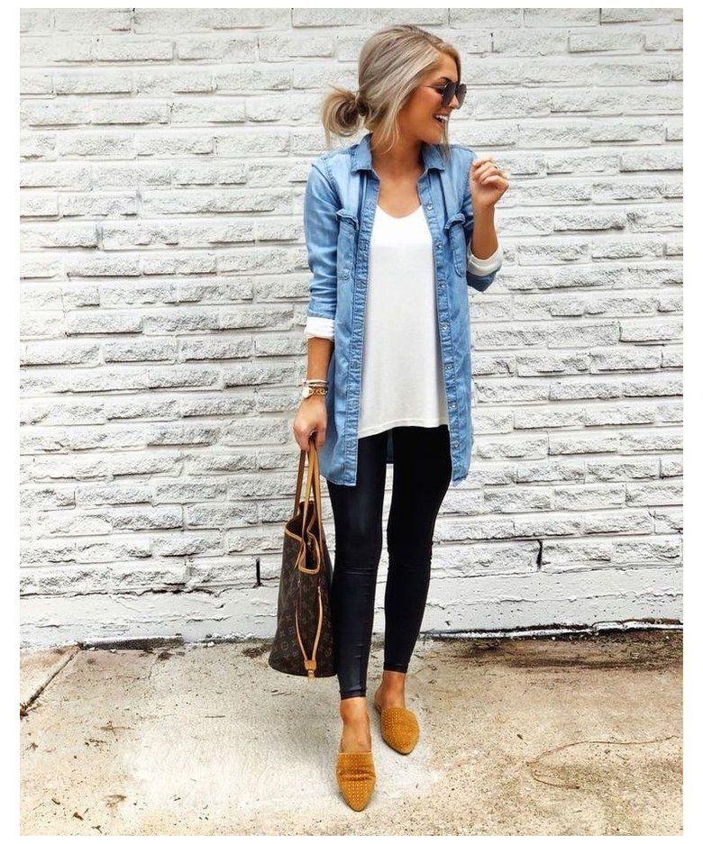 long denim shirt outfit