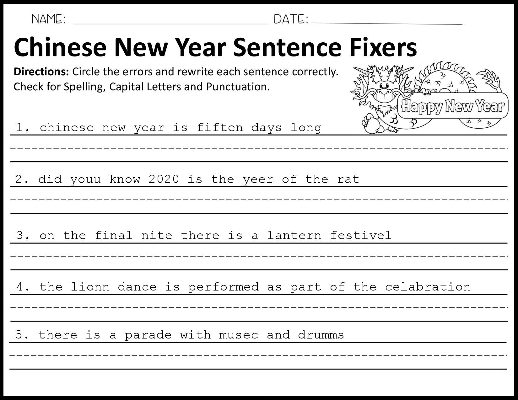Chinese New Year Sentence Fixers Sentence fixer, Chinese