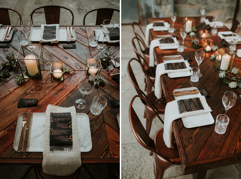 Met mooie tafels heb je helemaal geen tafelkleden nodig. Dit is zo stoer! Foto: Isenoud Fotografie.