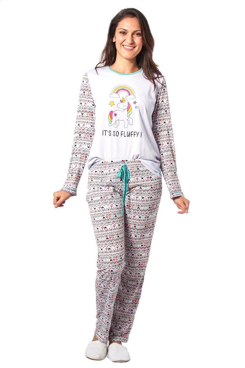 976cf6899 Pijama feminino Adulto Unicórnio de Inverno  Blusa  Poliester Viscose com  estampa Unicórnio (