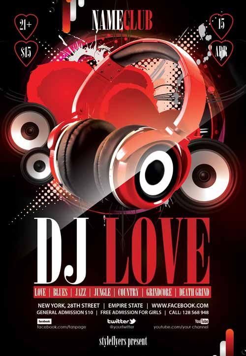 Dj Love Free Flyer Template - http\/\/freepsdflyer\/dj-love-free - love templates free