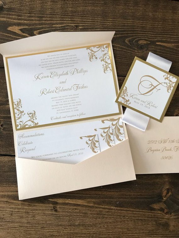 Pocket Wedding Invitations Gold Foil Wedding Wedding Etsy In 2020 Gold Wedding Invitations Wedding Invitations Pocket Wedding Invitations
