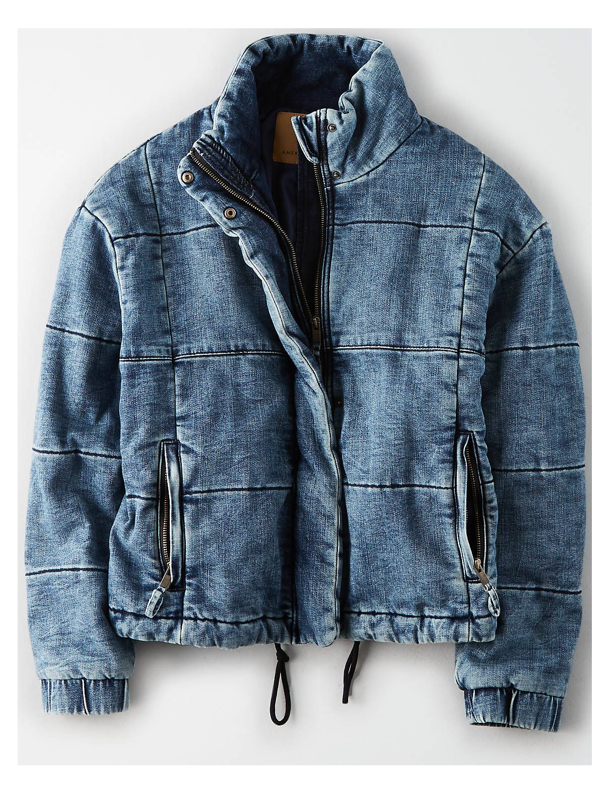 Ae Denim Puffer Jacket Blue American Eagle Outfitters Jean Jacket Outfits Denim Fashion Denim Inspiration [ 1575 x 1211 Pixel ]
