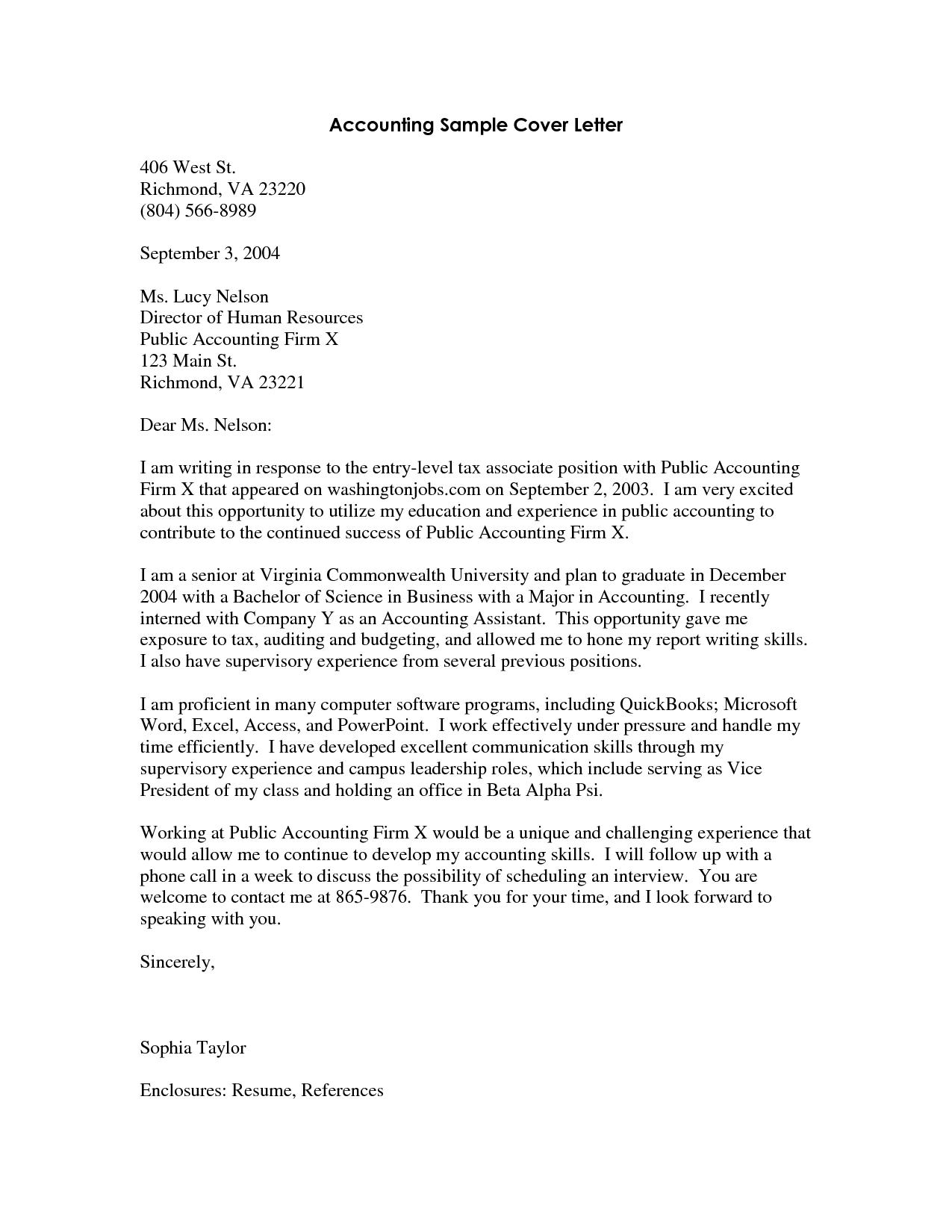 cover letter for fresh graduate audit Cover letter for