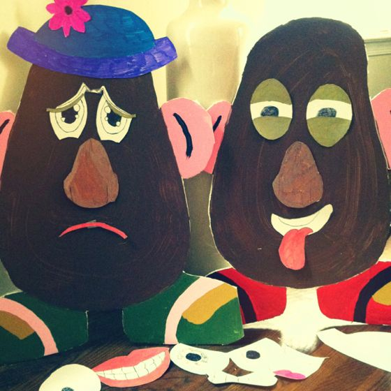 If kids can't express their feelings through words they can put their emotion on Mr and Mrs Potato head!