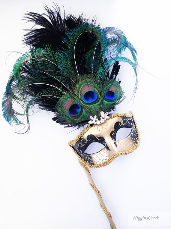TURQUOISE BLUE AND GOLD VENETIAN MASQUERADE PARTY MASK ON A HAND HELD STICK
