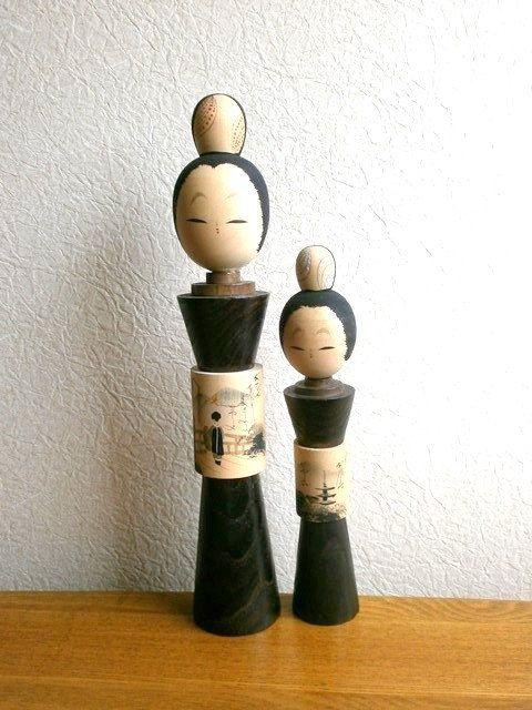 Vintage Japanese Kokeshi Dolls - Cute Kyoto Sisters