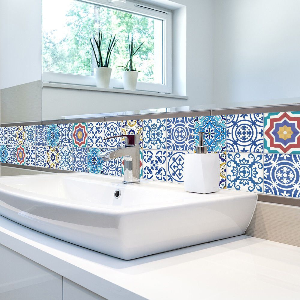 25 Pc Self Adhesive Sticker Diy Tile Art Wall Decal Kitchen Bathroom Floor Vinyl Ishowtienda Mediterranean With Images Wall Decor Stickers Pvc Wall European Home Decor
