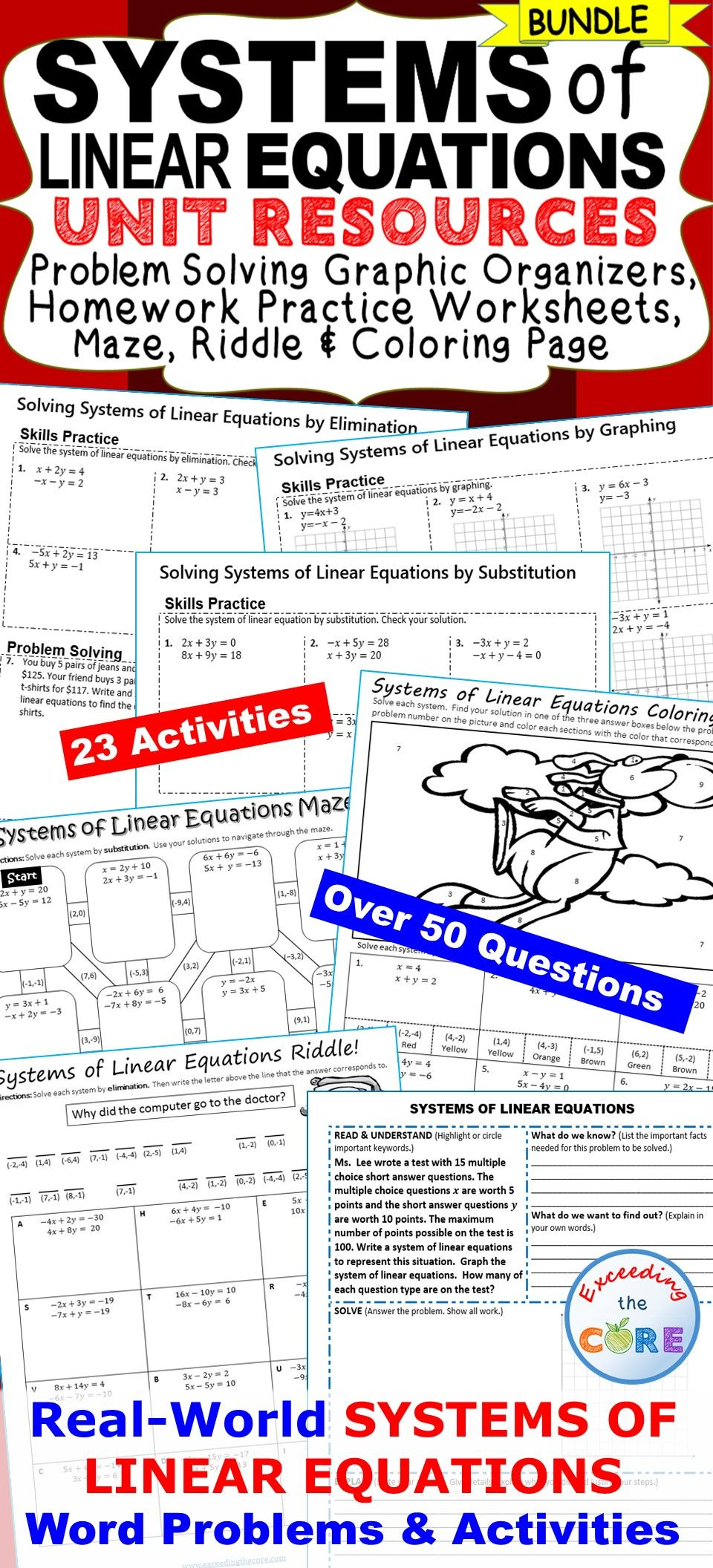 worksheet Linear Equations Puzzle Worksheet systems of linear equations homework practice graphic organizers fun puzzles