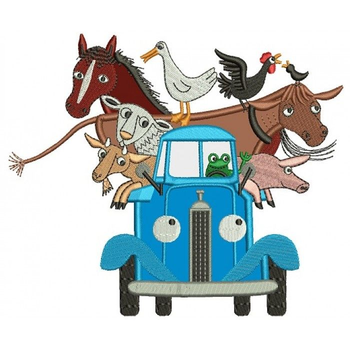 Truck with Animals Applique Machine Embroidery Digitized Design