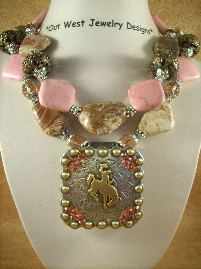 Image detail for -Western Cowgirl Chunky Necklace Set - Pink Turquoise, Crazyhorse ...