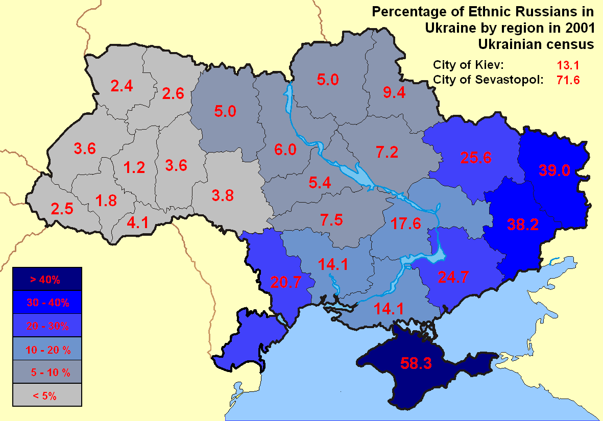 Percentage of Ethnic Russians in Ukraine by region Gazetteer