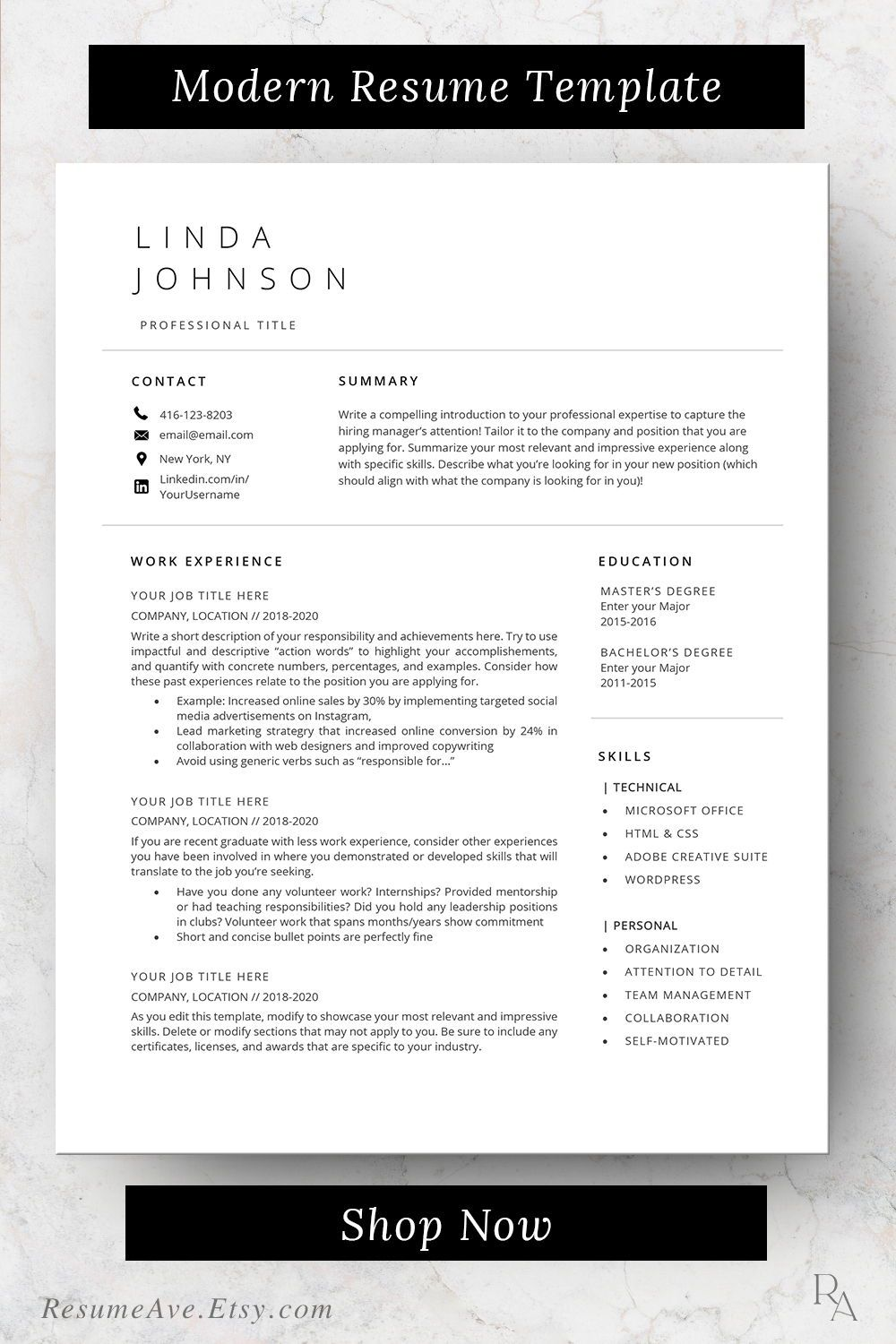 Executive resume professional design minimalistic