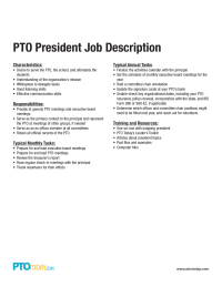Pto President Job Description  Pto    Job Description