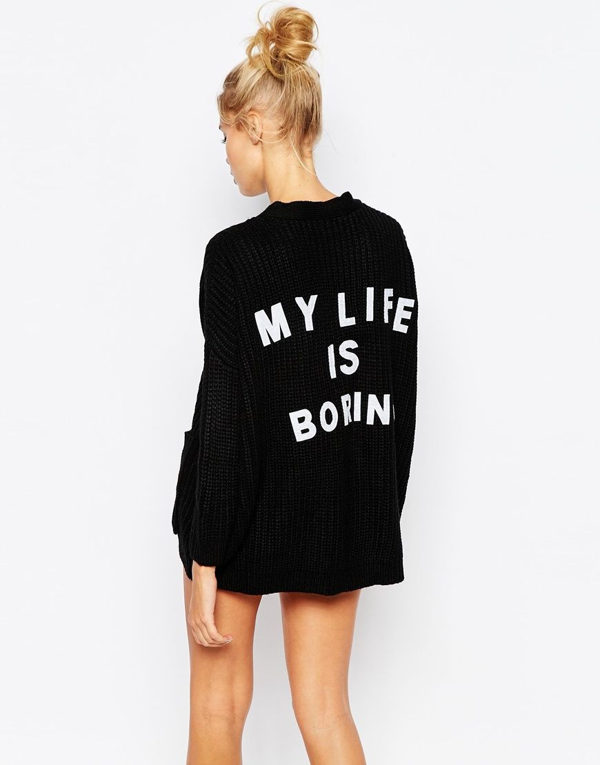 Fallen earth ragged black t shirt quest - Lazy Oaf Oversized Button Front Cardigan With My Life Is Boring Pack Print