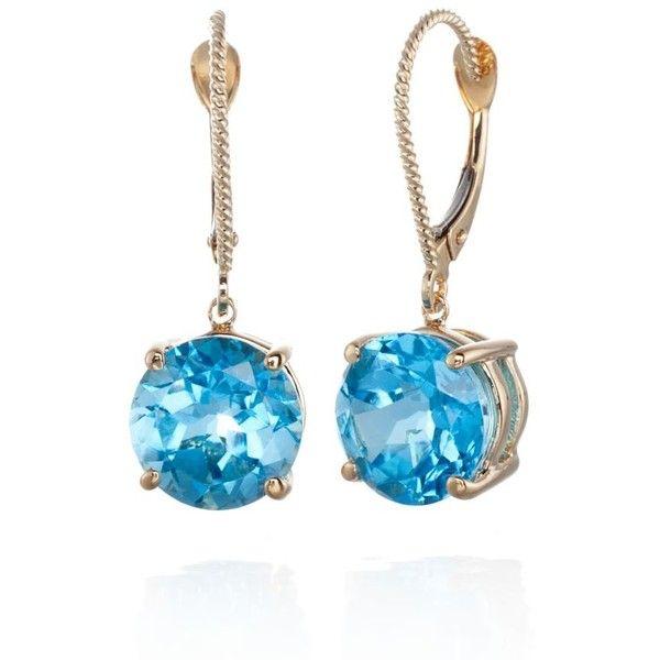 Belk  Co. Blue 14K Yellow Gold Blue Topaz Earrings ($700) ❤ liked on Polyvore featuring jewelry, earrings, blue, gold earrings, 14 karat gold jewelry, yellow gold earrings, yellow gold jewelry and blue topaz jewelry