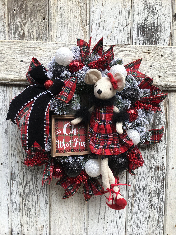 Christmas wreath Christmas mouse wreath Tartan plaid Christmas
