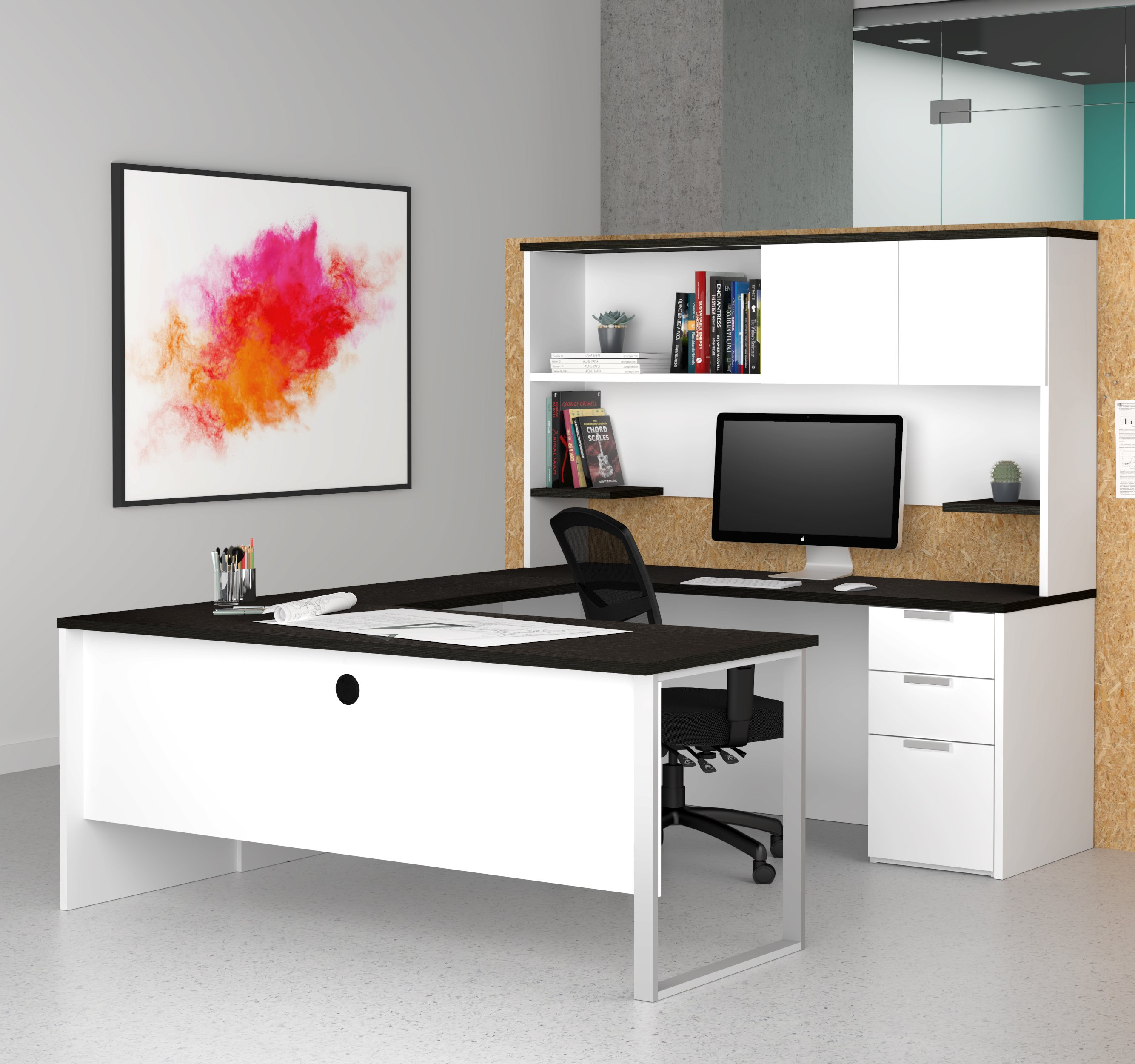 home and small with shaped b bestar series connexion corner office raw desk l magnifier hutch drawers