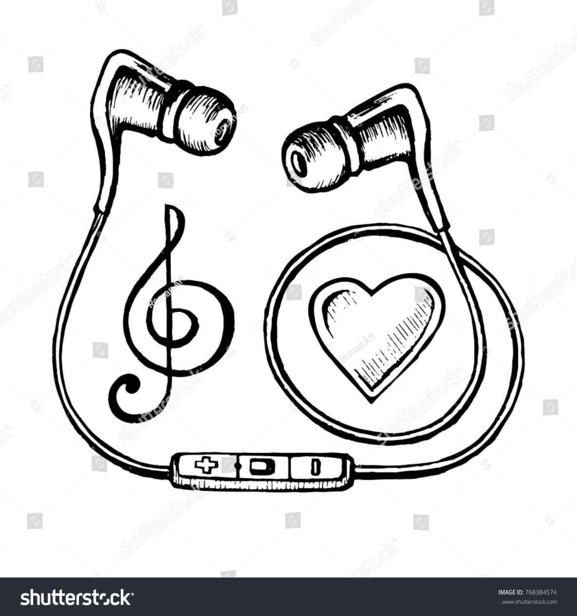 1185x1264 Vector Headphones Microphone And Music Notes Drawing Doodle Sketch Music Notes Drawing Music Drawings Doodle Art Journals