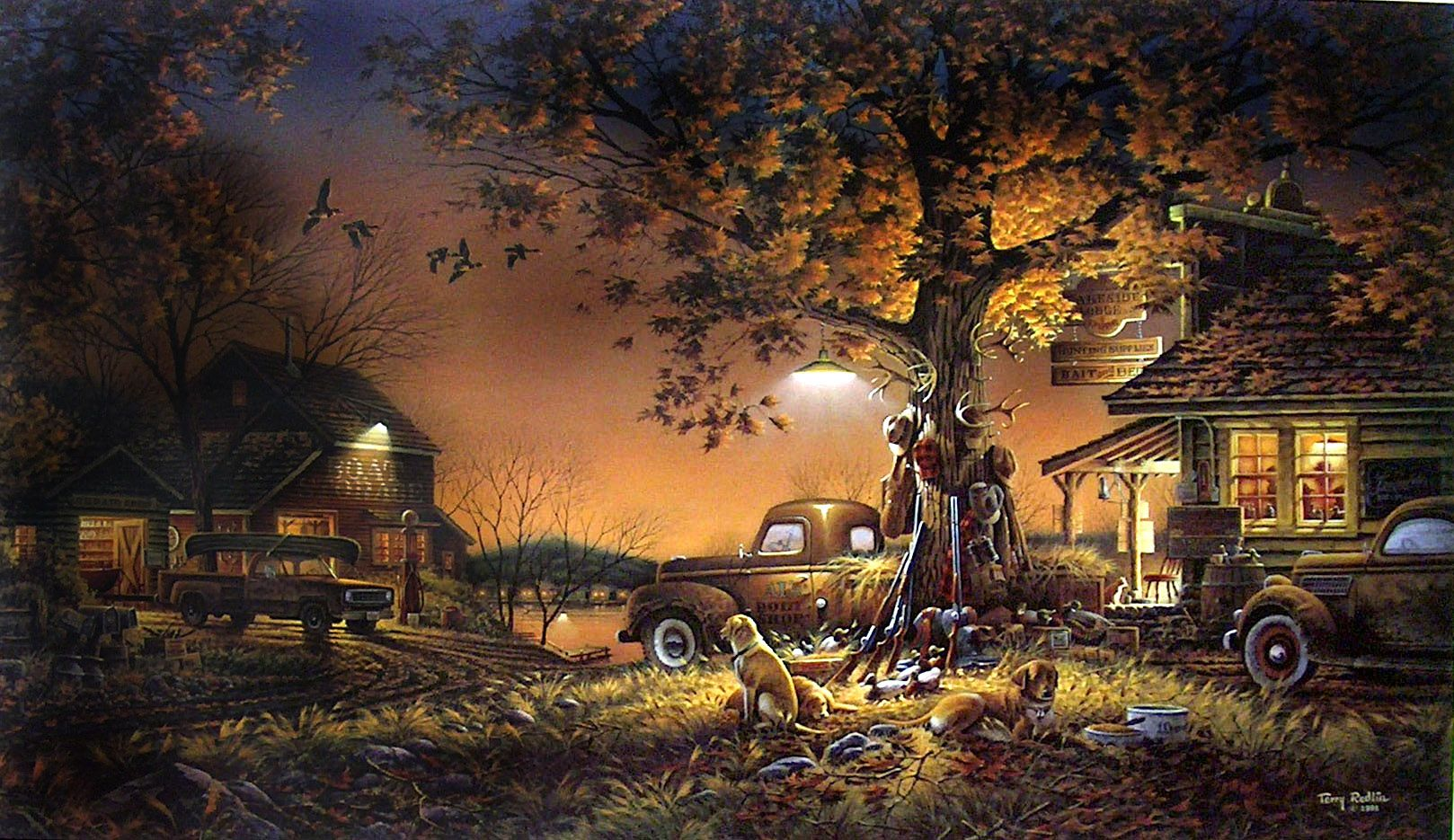 Hd Wallpaper Texture Fall Harvest Terry Redlin Twilight Time One Of My Favorites Can T
