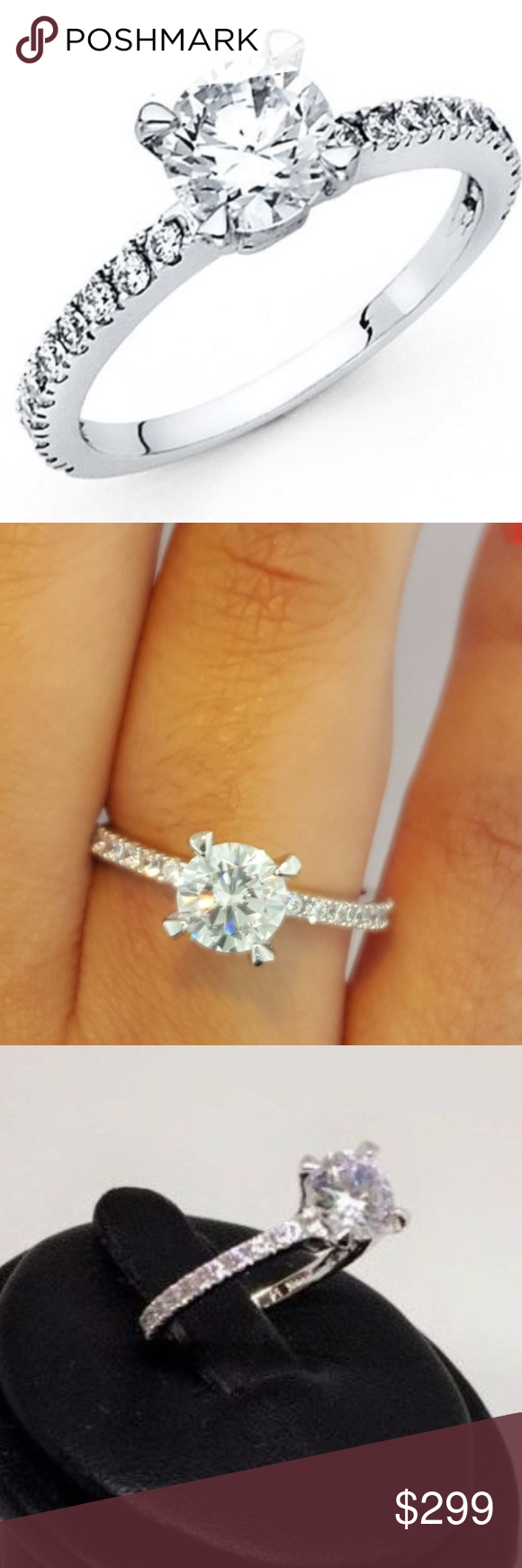 14k Solid Yellow Gold 1.50 Ct Diamond Engagement Wedding Ring Round Cut with Baguette side stones Cubic Zirconia