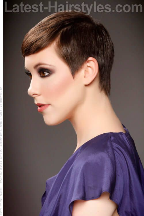 Short Pretty Pixie Hairstyle Side View