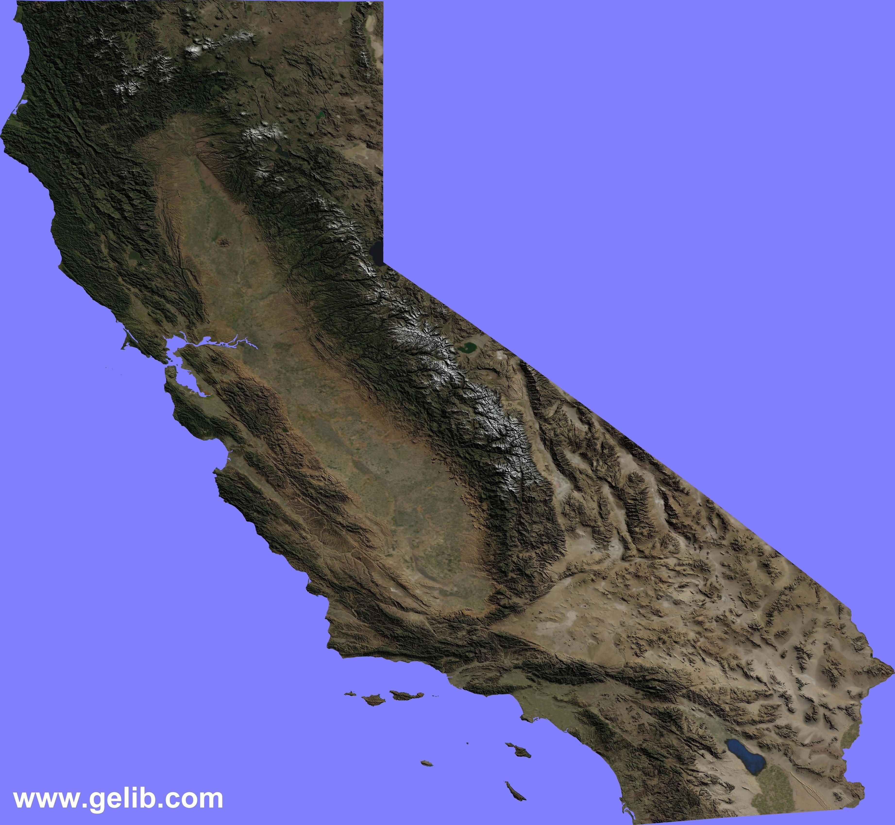 North America Map In 1750%0A Terrain Map of California