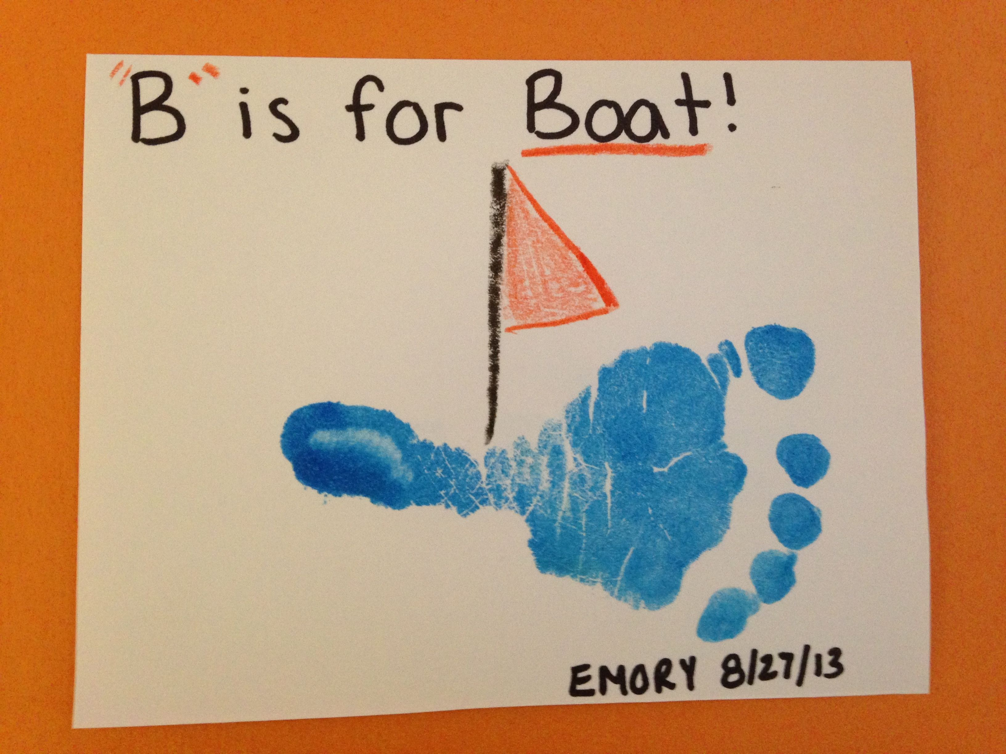 B is for Boat Footprint | Infant Room | Toddler arts, crafts, Toddler art projects, Lesson plans ...