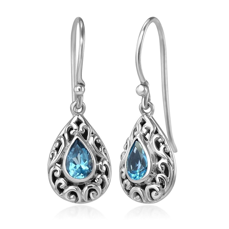 925 Silver 1//10ct Filigree Teardrop Dangle Earrings