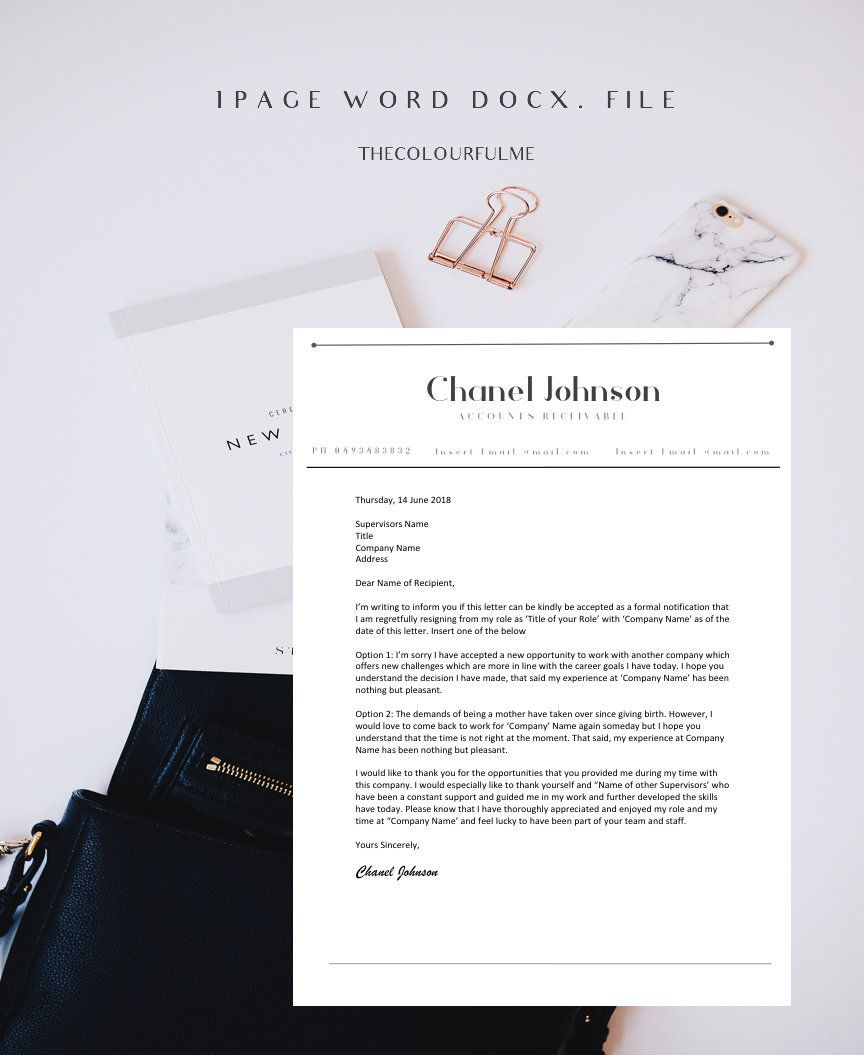 Letter Of Resignation Template Word Resignation Letter Template  Termination Letter  Letter Of .