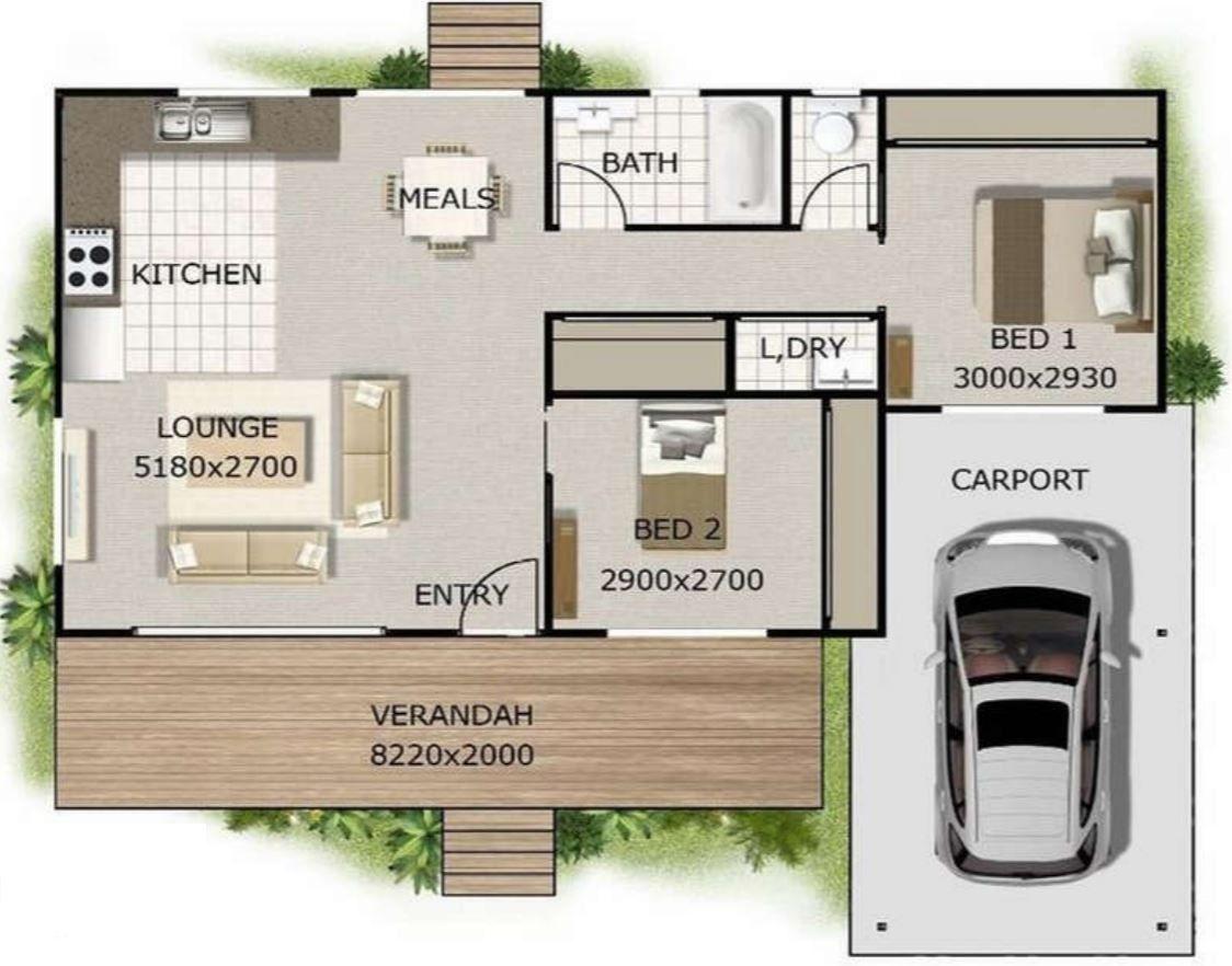 Planos de casasde dos dormitorios de 50 metros cuadrados for Casa moderna 50 metros cuadrados