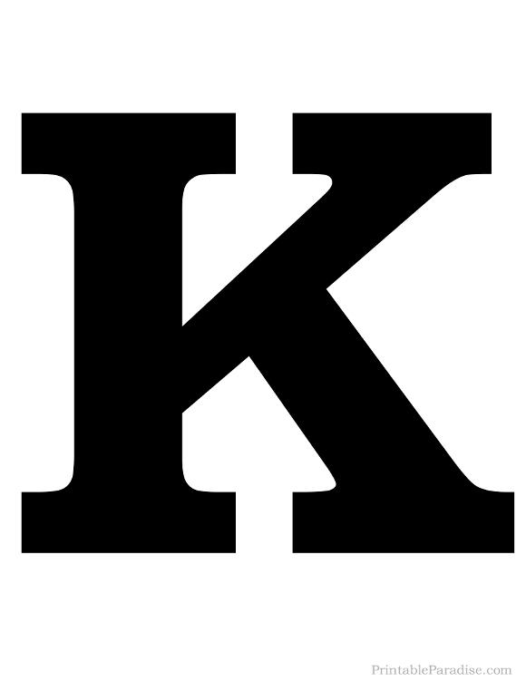Printable Solid Black Letter K Silhouette
