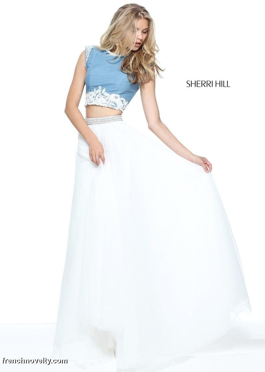 2edf6ec47912d Sherri Hill 51197 is a 2-piece prom dress with a cap sleeved denim crop top  and a tulle skirt.