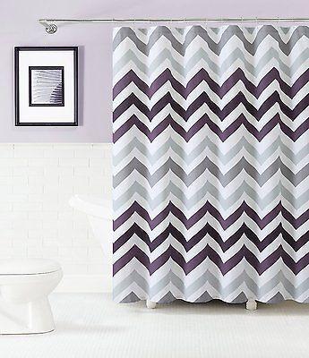 Corso Purple Plum Gray White Chevron 100 Cotton Fabric Shower Curtain Purple Shower Curtain Chevron Shower Curtain Bathroom Shower Curtains