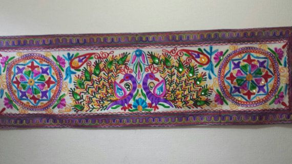 Peacock Indian Embroidery/ Mirror Bohamian by EssentialDesigns007