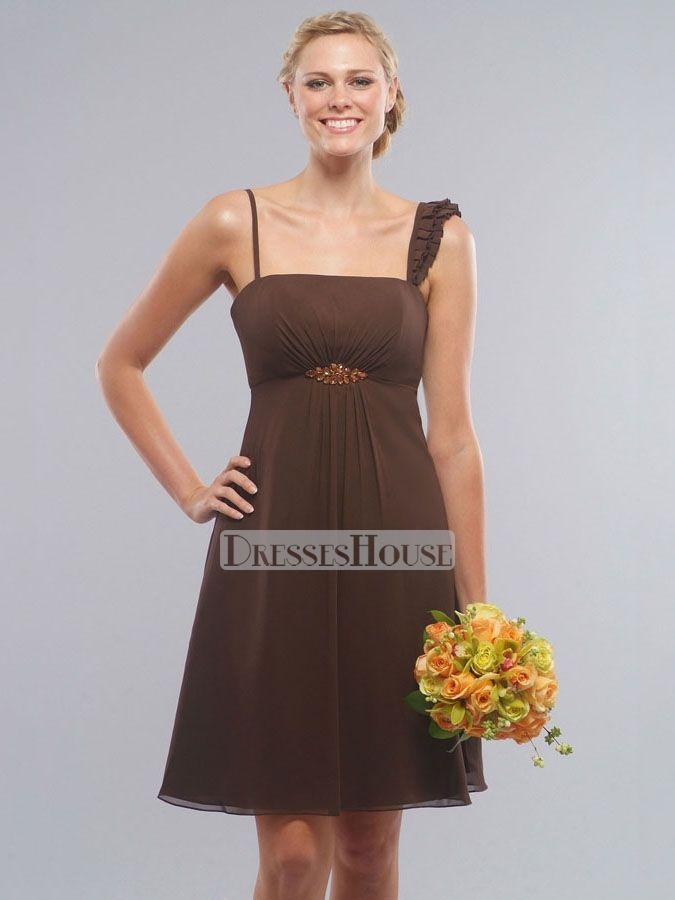 A-Line Straight Neckline wiith Spaghetti Straps and Ruffles Knee Length Chiffon Bridesmaid Dress BD10058