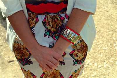 Mustache belt and tiger print dress