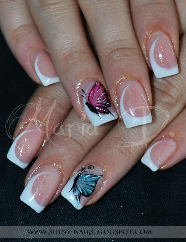 Shiny Nails By Maria D Butterflies On Twisted French Gel Nails French Gel Nail Art Designs Nail Designs Frances