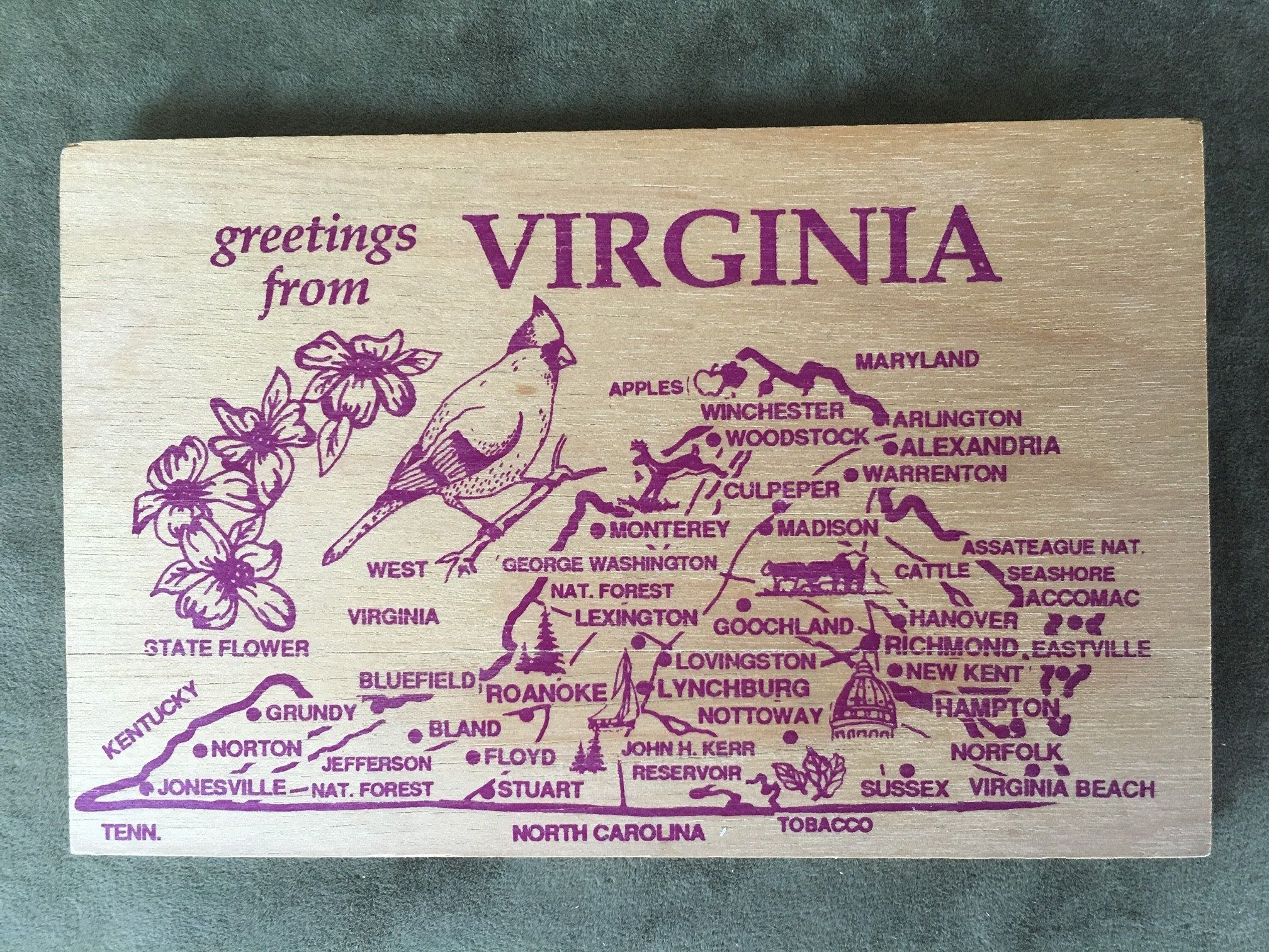 Greetings From Virginia Novelty Wooden Postcard State