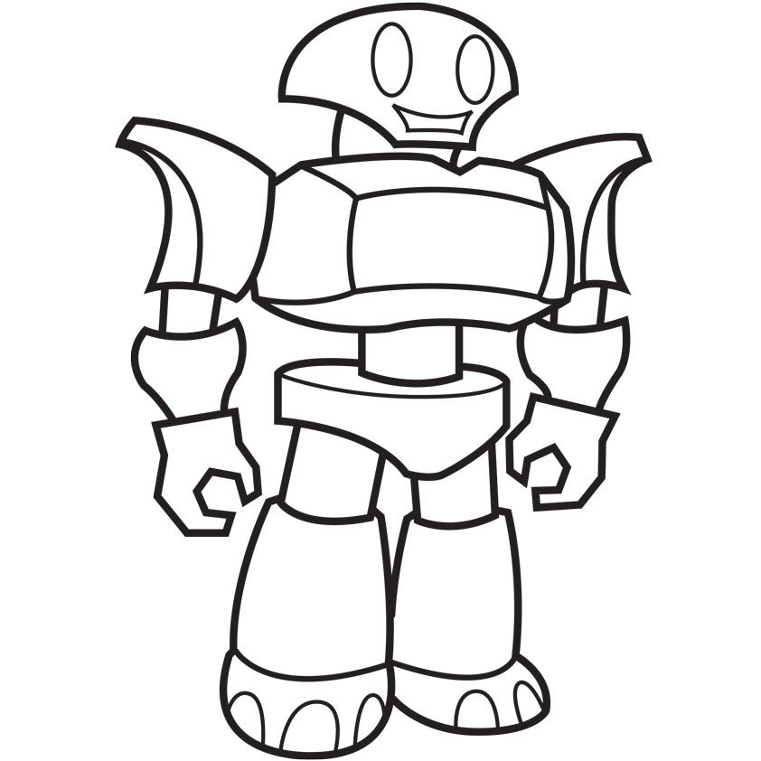 Robot Coloring | Robot Standing Coloring Page Book Illustrator ...